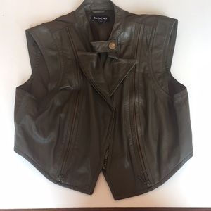 Bebe New Faux Leather VestTop with zippers Size M